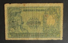 Italia 1951 Biglietto Di Stato 50 Lire - [ 2] 1946-… : Repubblica