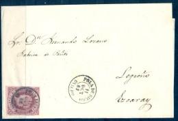 1862 , ASTURIAS , ISABEL II , 4 CUARTOS , ED. 58 , FECHADOR DE POLA DE SIERO - Covers & Documents