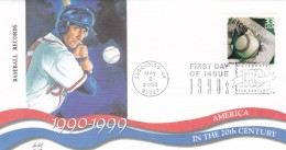 Sc#3191a, Baseball Records Broken 'Celebrate The Century' Series, First Day Of Issue Cover - 1991-2000