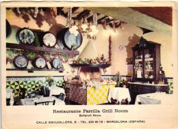 Barcelona - Restaurant Restaurante Parrilla Grill Room - Advertising Publicité - Old Postcard (2 Scans) - Barcelona