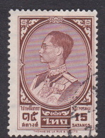 Thailand SG 424 1961 King Bhumipol  Rama IX 15 Satangs Brown Used - Tailandia