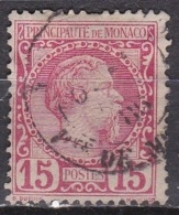 Monaco 1885 Roi Charles I 15 C Rose Y&T 5 Obliteré - Monaco