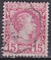 Monaco 1885 Roi Charles I 15 C Rose Y&T 5 Obliteré Ambulant - Monaco