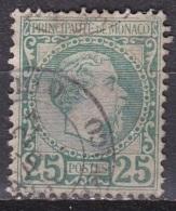 Monaco 1885 Roi Charles I 25 C Vert Y&T 6 Obliteré - Monaco