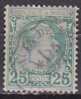 Monaco 1885 Roi Charles I 25 C Vert Y&T 6 Obliteré Ambulant - Monaco