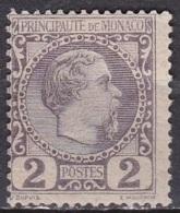 Monaco 1885 Roi Charles I 2 C Lila Y&T 2 Neuf Avec Charniere - Monaco