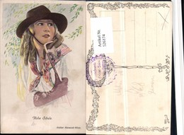 526174,Künstler AK Frau Glamour Mode Stock Hut Handschuhe Atelier Manasse Wien Pub B. - Mode
