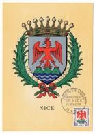 Carte Maximum - Blason De Nice - Premier Jour 1958 - Cartes-Maximum