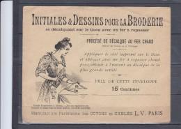 """Enveloppe Avec INITIALES Et DESSINS Pour La BRODERIE Procede De Decalque Au Fer Chaud """" Lettre D """" - Vieux Papiers"""