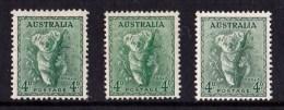 Australia 1938 - 1956 4d Koala P13.5, P15 And No Watermark MH  SG 170, 188, 230a - 1937-52 George VI