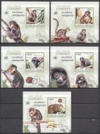 MDA-BK2-022 LUX MINT PF/MNH ¤ COMORES 2009 5xBLOCK IMPERFORATED (RARE) ¤ MAMMALS - LES LEMURS MANGOUSTES - Apen