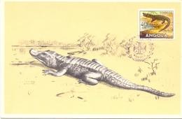 ANGOLA MAXIMUN POST CARD  LUANDA CROCODILE  1956  (SET160037) - Angola