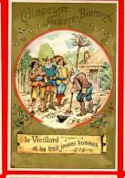 Chocolat Guérin Boutron, Chromo Lith. Vieillemard, Fables La Fontaine, Le Vieillard & Les Trois Jeunes Hommes - Guerin Boutron