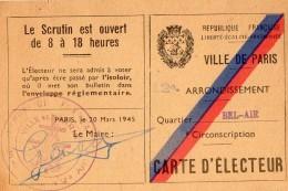 VP5449 - Ville De Paris - Carte D'Electeur De Mr Robert,Eugène FOL à PARIS Bd Picpus - Cartes