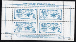 New Zealand Wine Post Dunedin Airshow 1992 Sheetlet With First Sheet Number. - New Zealand