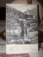 CARTOLINA CANNOBIO ORRIDO DI S. SANT'ANNA 1903 ANIMATA PESCATORE CAMPANILE - Autres Villes