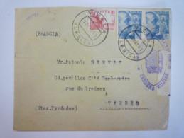 Enveloppe Au Départ De  VIELLA à Destination De TARBES  1941  -  CACHET DE CENCURE   XXX - Marcas De Censura Nacional