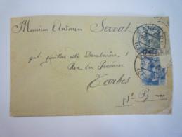 Enveloppe Au Départ De  SALARDU à Destination De TARBES  1941  -  CACHET DE CENCURE   XXX - Marcas De Censura Nacional