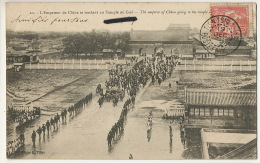 Pekin Empereur De Chine Se Rendant Au Temple D P. Used Tientsin 1905 Mouchon Type French Office 1905 Edit. Tillot - Cina