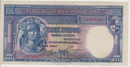 Uruguay 10  Pesos 1935 Pick 30b VF+ - Uruguay