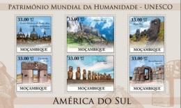Mozambico 2010, UNESCO In South America, Machu Picchu, Pasqua, Equador, 6val In BF - Archéologie