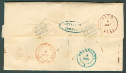LAC De TERNEUZEN 7/9 (1845) + Griffe Encadrée Bleue SR (de Bruxelles)  Vers Ecaussines (sic Chez Braine-le-Comte) - Vers - 1830-1849 (Belgique Indépendante)