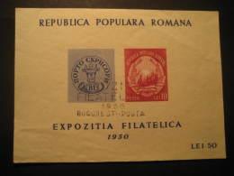 Bucharest 1950 Expo Phil Cancel Block Romania - Hojas Bloque