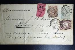 Nederland Aangetekend Postwaardestuk Met Mengfrankering  Nr 33 + 36 Naar Pisa Italie 1896 Waszegel - Periode 1891-1948 (Wilhelmina)