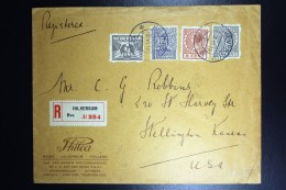 Nederland Aangetekende Enveloppe Hilversum Wellington USA Met O.m. R23 + R33 + R52 Mengfrankering - Brieven En Documenten