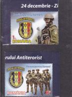 # 180  ANTITERORISM, GUARD, 2012, MNH **, TWO STAMPS + LABELS, ROMANIA - 1948-.... Républiques