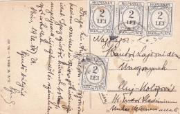 # BV 2747  POSTAGE DUE,  2LEI, FOUR STAMPS,  POSTCARD , 1920, ROMANIA - Impuestos
