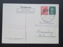 Deutsches Reich1927  Erster Postflug Zum Brocken, Privat-Ganzsache. Von Hindenburg Postkarte. Postagentur Brocken - Briefe U. Dokumente