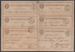 SUISSE / 1874-1875  - 6 ENTIERS POSTAUX - OBLITERATIONS DIFFERENTES (ref 7165) - Ganzsachen