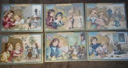 Série Des 6 Chromos Images - ENFANTS QUALITE - édition Imprimée Au Dos En Brun - Lefèvre Utile - 1900 - Biscuit LU /68 - Lu