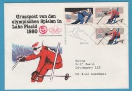 Grusspost Schweizer Olympiamannschaft  US-Sondermarken Lake Placid 80 - Invierno 1980: Lake Placid