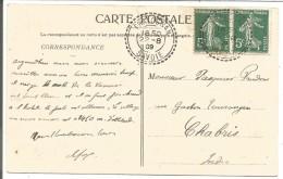 OBLITERATION DE PRALOGNAN (SAVOIE) SUR CARTE DU 22/8/1909 - Marcophilie (Lettres)
