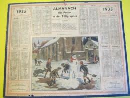 Almanach Des Postes Télégraphes /Un Chef D'oeuvre Menacé/Le Bonhomme De Neige/ Dépt ?/Oberthur /Rennes /1935     CAL340 - Big : 1921-40