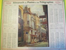 Almanach Des Postes Télégraphes /Rue Hautefeuille/Paris/ Dépt ?/Oberthur /Rennes /1936     CAL339 - Calendars