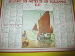 Almanach Des Postes Télégraphes /Retour De Pêche/ Dépt ?/Oller/Paris-Puteaux/1939     CAL338 - Calendars