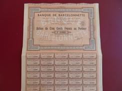 BANQUE DE BARCELONNETTE ACTION DE 500 FRS 1940 - Banca & Assicurazione
