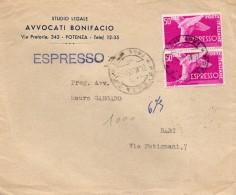 1954  LETTERA ESPRESSO CON ANNULLO  POTENZA + BARI - 6. 1946-.. Republik