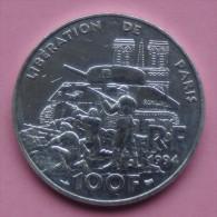 """Pièce De 100 Francs 1994 """" Libération """" - Argent 900/1000 - France"""