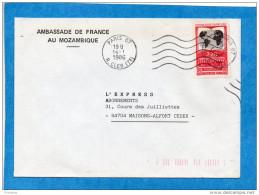 LETTRE AMBASSADE DE FRANCE AU MOZAMBIQUE-  Valise Diplomatique-1986-afft Arrivée Tarif Françe  Dest Françe - Poststempel (Briefe)