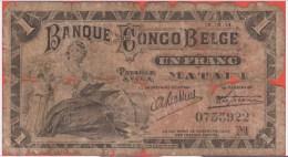CONGO BELGE - 1 Franc Du 15 10 1914 - P3 - [ 5] Belgian Congo