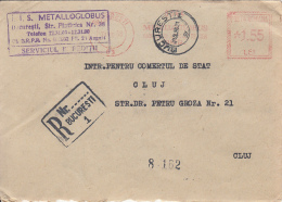 48748- AMOUNT 1.55, METALLOGLOBUS COMPANY, BUCHAREST, RED MACHINE STAMPS ON REGISTERED COVER, 1968, ROMANIA - 1948-.... Republics