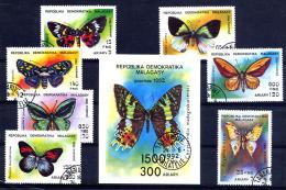 MADAGASCAR 1992, PAPILLONS, 7  Valeurs Et 1 Bloc, Oblitérés / Used. R342-3 - Butterflies