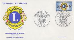 Enveloppe  1er  Jour    SENEGAL      Cinquantenaire  Du   LIONS   INTERNATIONAL     1967 - Sénégal (1960-...)
