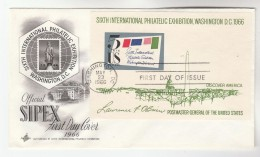 1966 USA Stamps FDC Miniature Sheet SIPEX PHILATELIC EXHIBITION Artcraft Cover Illus Emblem - First Day Covers (FDCs)