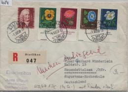 1958 Pro Juventute J173-J177 663-667 Mit TAB FDC Ausgabetag Von Dietlikon Nach Neuendettelsau R-Brief - Pro Juventute