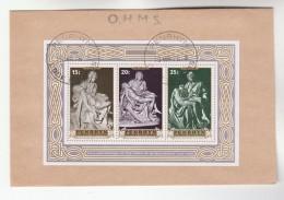 1976  PENRHYN FDC Miniature Sheet EASTER MICHELANGELO SCULPTURE Art Cover Religion Christianity - Penrhyn
